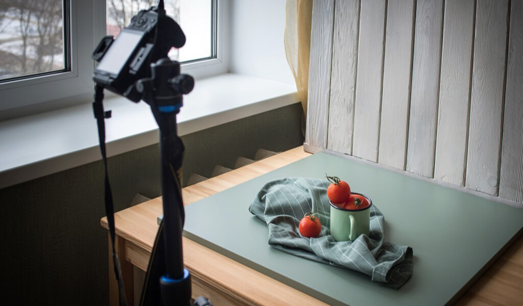 Food photography set up at home